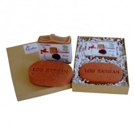 Coffret cadeau porte savon exfoliant et savon